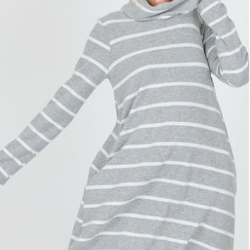 Long sleeve striped midi dress