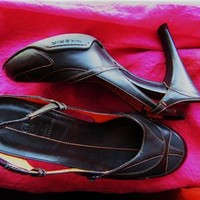 COLE HAAN NIKE AIR SHOES BROWN LEATHER SLINGBACKS !SIZE 5.5 B/36!MADE IN BRAZIL!