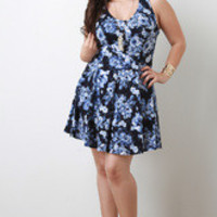 Women's Floral A-Line Dress in Plus Sizes