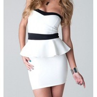 White Peplum Dress - Kely Clothing