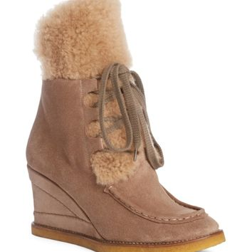 Chloé Peggy Genuine Shearling Wedge Bootie (Women) | Nordstrom