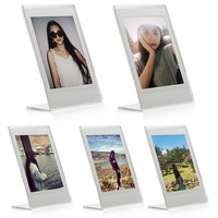 "Woodmin 2x3 inch Clear Acrylic ""L"" Vertical Desk Slant Photo Frame for Fujifilm Instax Mini Films (5 packs)"