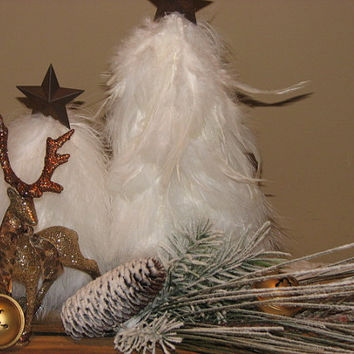 Primitive Feather Christmas Tree Centerpiece - Christmas Decor - Winter Centerpiece White Feather Trees Reindeer Bells Pine