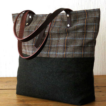 Wool Tote Bag Plaid and Military Green Tartan Tote Leather Handles ad52def809a12