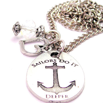 Sailors Do It Deeper Anchor Necklace with Small Heart