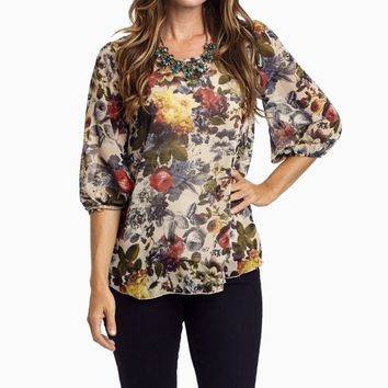 Red-Multi-Colored-Floral-Print-Chiffon-3/4-Sleeve-Blouse