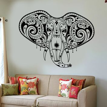 Vinyl Wall Decal Elephant Head India Hindu Buddhism Stickers Unique Gift (1571ig)