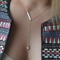 Diamond Pendant Golden Chain Y Necklace