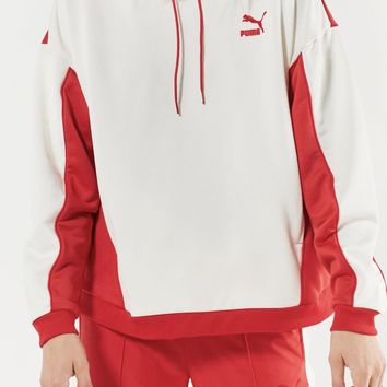 PUMA Red Color Block Hoodie Sweatshirt + Red Sweatpants Set Two-Piece
