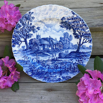 Royal Essex Ironstone Cobalt Blue Platter Vintage Shakespeare's Country Welford On Avon Scene Large Serving Plate 1940's Fine English China