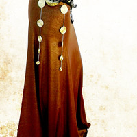 Gold Brown Stretch Mermaid Tribal Fusion Skirt, Belly Dance Costume