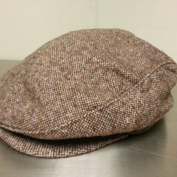 3f0ab0c82e3 True Vintage Union Made Newsboy Cabbie Hat Tweed Style Red Brown