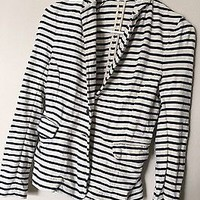 EUC J Crew Navy Blue Striped Cream Cotton Blazer Size XXS