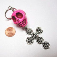 Big Daddy Pink Skull Cross Keychain Sugar Skull Key Ring Pendant
