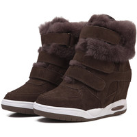 Winter Fur ASH Genuine Leather Fashion Wedge Sneakers,Snow Boots,Street Shoes,Size 35~39,Heel 6cm,Women's Shoes