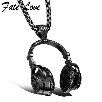 Hip Hop Jewelry Men Necklace Stainless Steel Music Headphone Pendant Necklaces Fashion Cool Gifts Mens Jewellery Collier