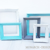 Box Frame Matching Collection - Upcycled Shabby Chic 5 pc Frame Set