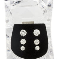 925 Sterling Silver Four Prong 4, 5 and 6mm Cubic Zirconia Stud Earrings Set