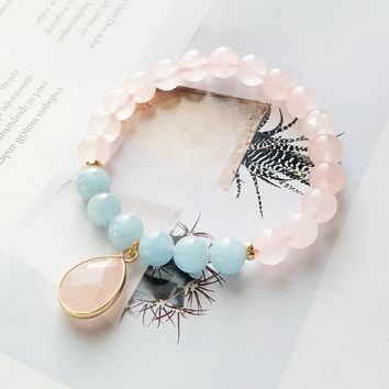 Lii Ji Gemstone Natural Rose Quartz,Aquamarine 925 Sterling Silver 18K Gold Plated Elegant Bracelet Nice Gift For Women