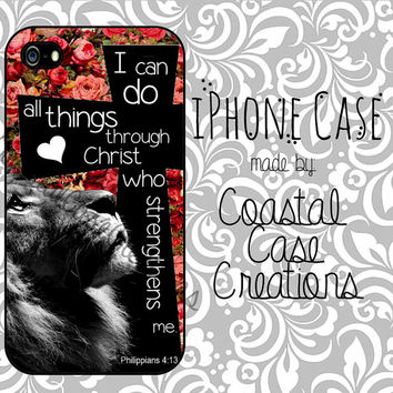 Roses Lion and Cross Philippians 4:13 Quote Apple iPhone 4 and 5 Hard Plastic or Rubber Phone Case Cover Original Design