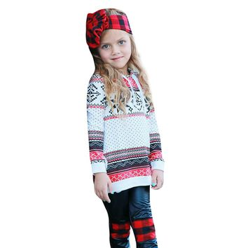 Toddler Kids Baby Girl Stripe Hoodie Sweatshirt Pullover Tops Christmas Clothes