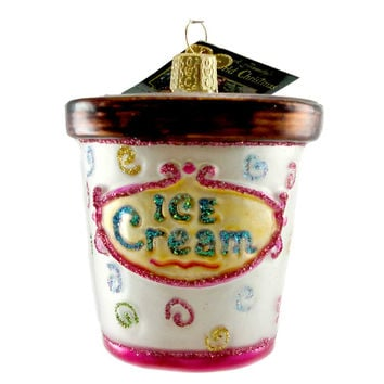 Old World Christmas Ice Cream Carton Glass Ornament