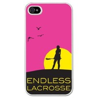 Lacrosse iPhone Case Endless Lacrosse Girl Neon Pink Background (iPhone 4/4S)