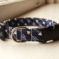 Navy Arrow Dog Collar, Handmade Dog Collar, Dog Accessories, Pet Accessories, Adjustable Fabric Dog Collar with Plastic Buckle, Blue Arrows