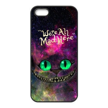 Alice in Wonderland Nebula for Galaxy Space Cheshire Cat Hard Phone Cover Case for iPhone 4 4S 5 5S 5C 6 6 PLUS