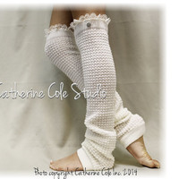 DANCE LOVE Cream Lace Leg warmers knit legwarmers dance yoga pilates ballet leggings knit leg warmers lacey knit Catherine Cole Studio LW23