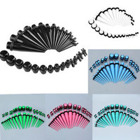36x Acrylic O-Ring Ear Taper Stretcher Plugs Gauges Expander Stretching Kits Set