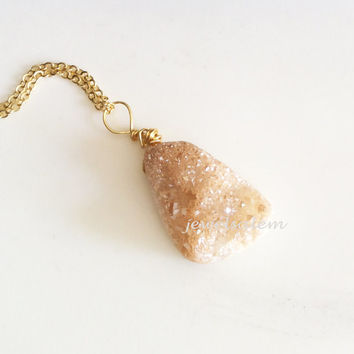 Druzy Necklace Peach Gold Silver Wire Wrapped Long Necklace Rustic Raw Gemstone Layering Layered Autumn Modern Gift Statement C1