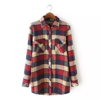 PEAPGB2 2016 Autumn Winter New Arrival Women Fashion Vintage Long Sleeves Plaid Shirts, Female Popular Casual Flannel Check Blouses Tops