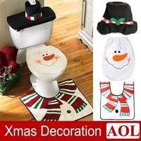 Christmas Snowman Toilet Cover Seat Cover + Tissue Box + Rug Bathroom Mat Set Christmas Gift Home  Party Decoration