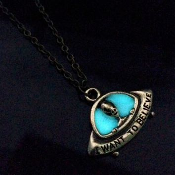 I Want To Believe Necklace- Glow In The Dark