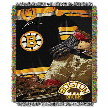 Boston Bruins NHL Woven Tapestry Throw (Vintage Series) (48x60)