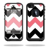 Mightyskins Protective Vinyl Skin Decal Cover for LifeProof iPhone 5 Case 1301 fre wrap sticker skins Black Pink Chevron