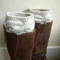 Cream Boot cuffs, Cream boot toppers, cream legwarmers from MaryK Creations