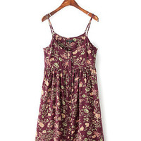 Wine Red Printed Sleeveless A-line Pleated Mini Dress