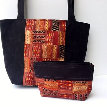 Tote Bag Zipper Pouch Two Piece Set Handmade Mother's Day Sister Birthday Gift For Her Travel Purse African Ethnic Design