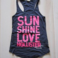 Hollister by Abercrombie Navy and Bright Pink Big Logo Oversize Top Tank Shirt S