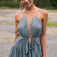 Plain Strappy Ribbon Tie Dress