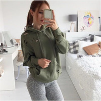 Dark Green Long Sleeve Hooded Sweater