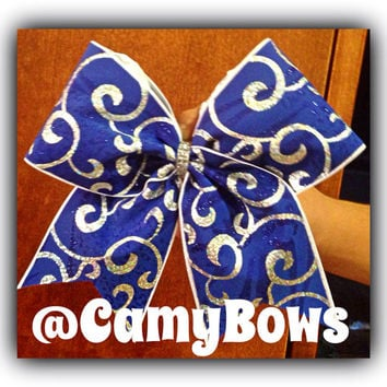 Cheer Bow Royal Blue with Glitter and Silver Swirls