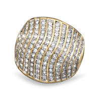 Domed 14 Karat Gold Plated Brass Ring with Cubic Zirconias