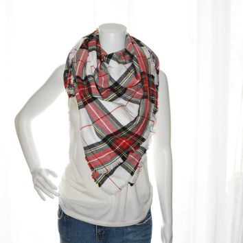 Tartan Plaid Blanket scarf / Oversized Scarf Blanket / Flannel Shawl / Fall, Winter Wrap / Zara Insired