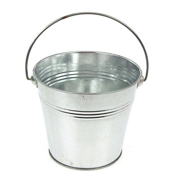 Metal Pail Buckets Party Favor, 5-inch, Silver