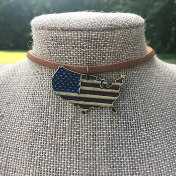 Necklace, Leather, Choker, USA, American, Flag, United States, Patriotic, Fourth Of July, Pendant, Gift, Simple, Minimalist