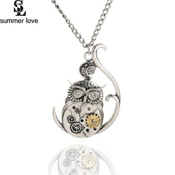 Gothic jewelry steampunk necklace gear owl pendant necklace with clear crystal eye antique silver joyeria colar feminino