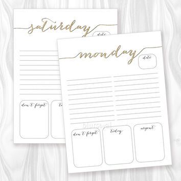 Printable to do list, daily to-do printable, weekly planner calendar notepad, girly golden glitter, digital PDF - ORG 002 Instant download